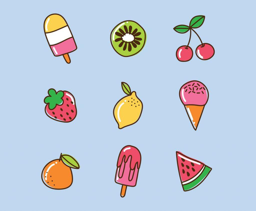 夏天风格彩色水果图标矢量素材打包下载