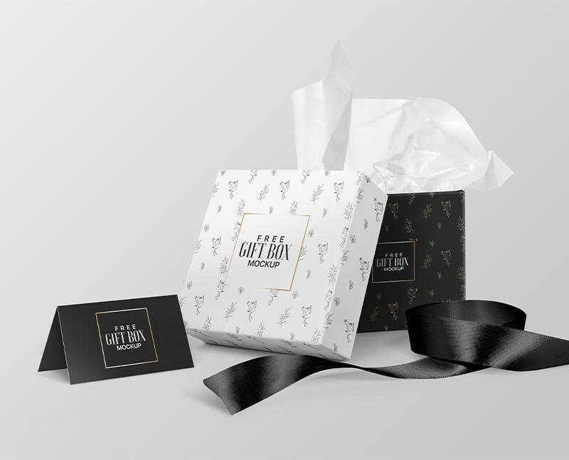 简约的正方形礼品包装盒样机素材PSD下载