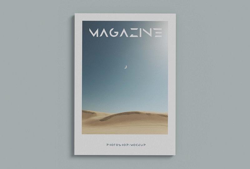 两个极简杂志封面样机模板素材