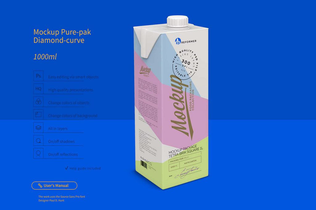 1L大盒牛奶样机图PSD下载包装设计素材