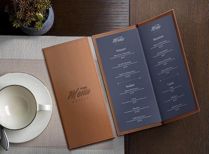 高档咖啡馆餐厅折叠菜单样机素材PSD下载