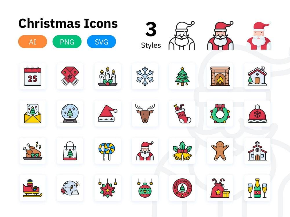 28个圣诞节矢量免抠图标设计素材打包下载