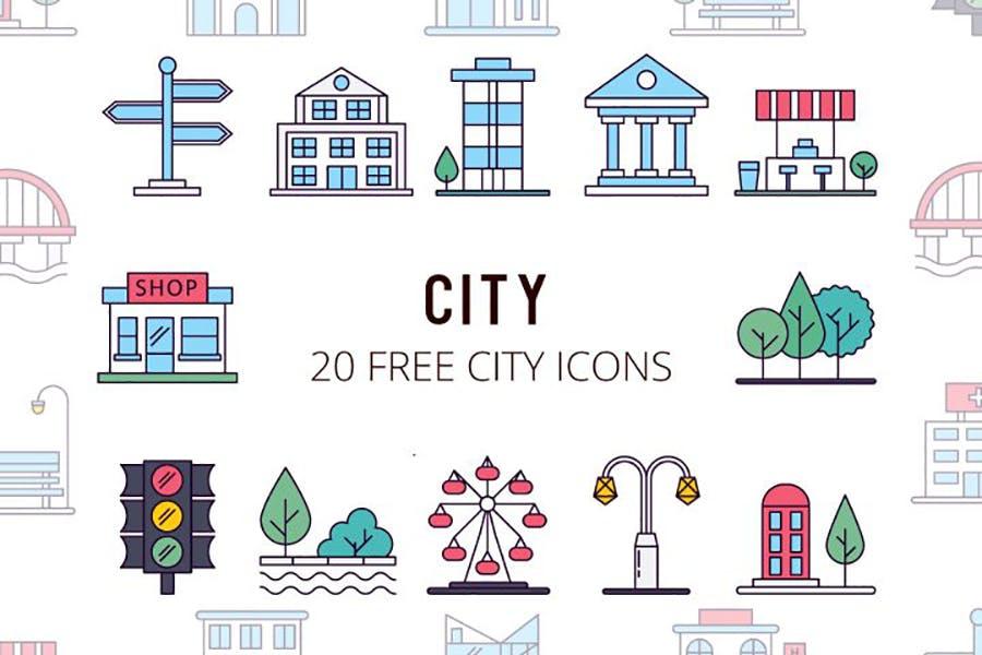 20个城市建筑物矢量图标免抠设计素材打包下载
