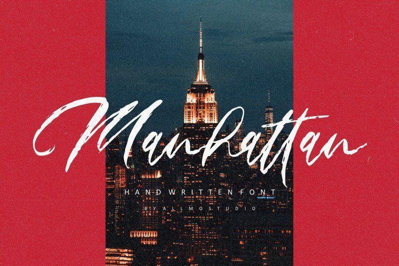 粗糙干笔刷效果的毛笔手写英文设计字体下载 Manhattan