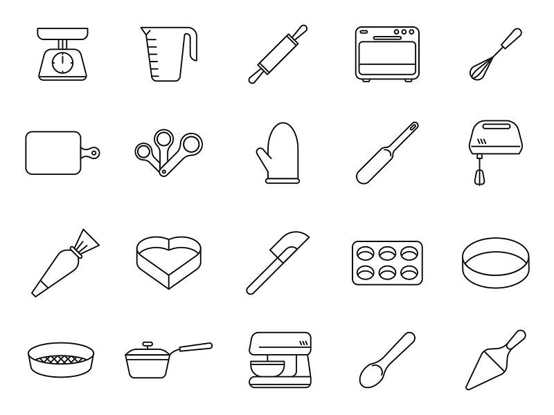20个烘焙工具矢量素描图标设计素材打包下载