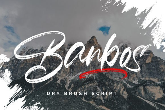 Banbos水墨飞白毛笔手写风格的英文书法字体