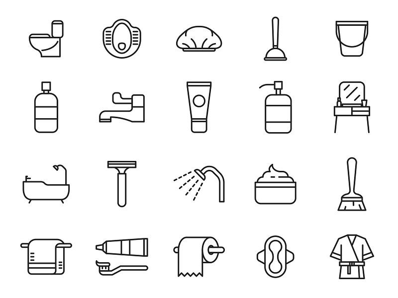 一组卫生间洗漱用品矢量图标素材