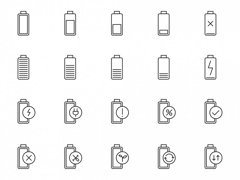 电池电量状态矢量图标素材