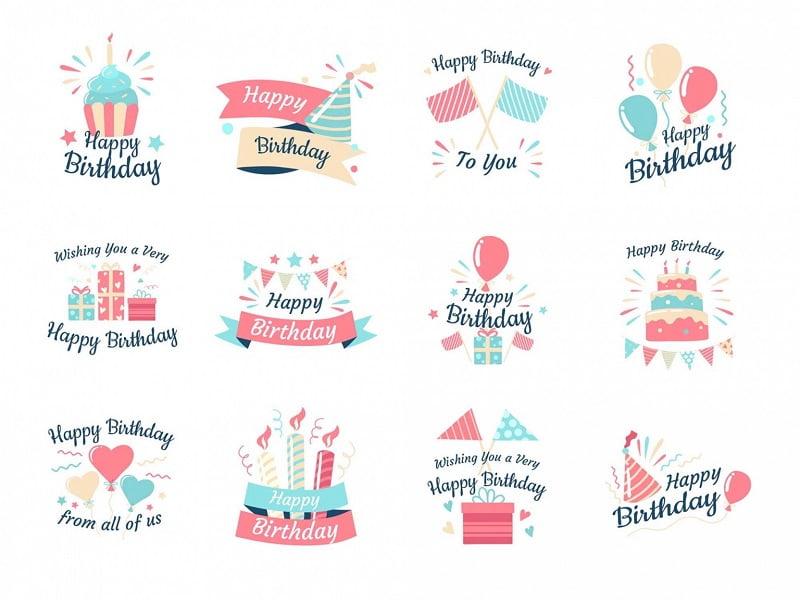 12个生日聚会ai矢量图手绘设计元素打包下载