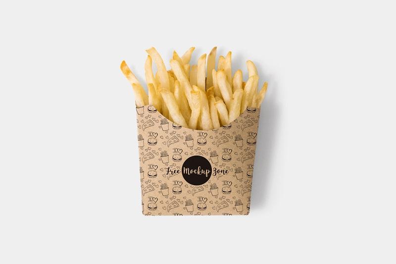 炸薯条包装纸盒样机模板素材PSD下载