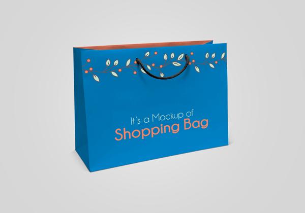 纸质折叠购物手提袋PSD样机素材下载