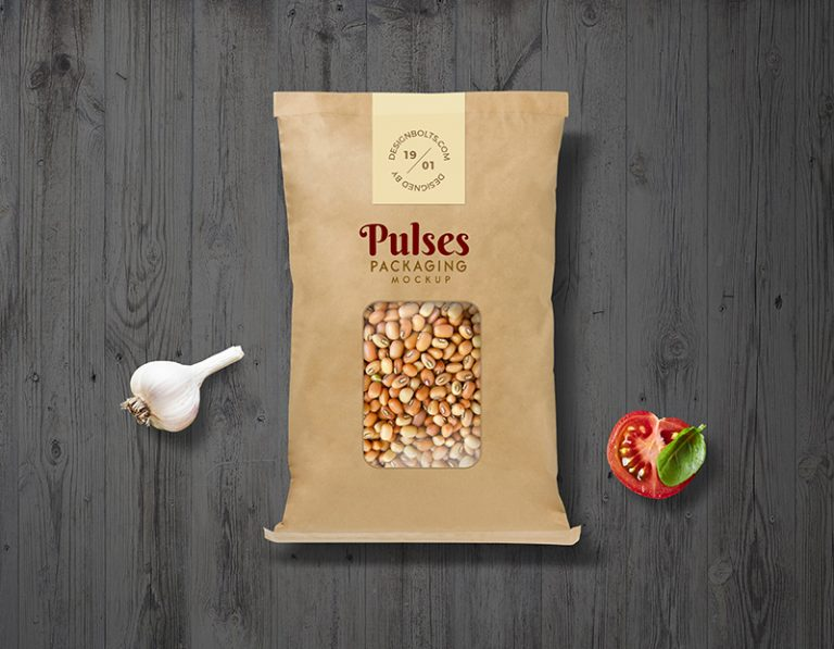 牛皮纸袋食品包装样机素材PSD下载