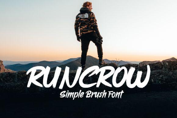 Runcrow大气中国风毛笔书法英文字体下载