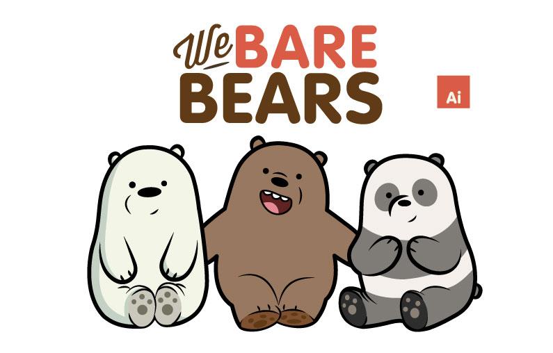 咱们裸熊插画矢量图壁纸素材下载