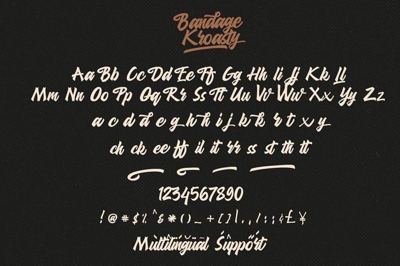 Kroasty粗体复古艺术手写英文LOGO字体