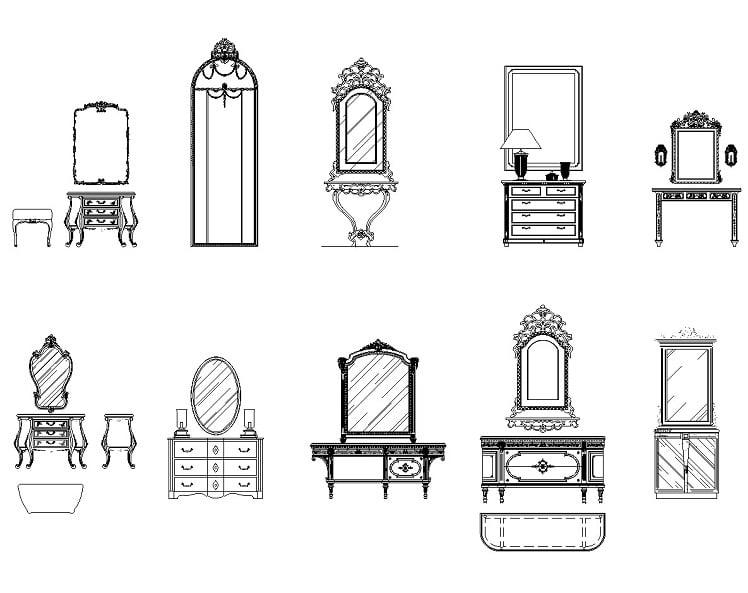 10套带镜子的欧式梳妆台cad设计图纸素材打包下载