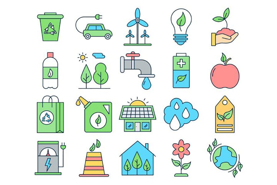 绿色出行保护生态环境矢量图标素材打包下载