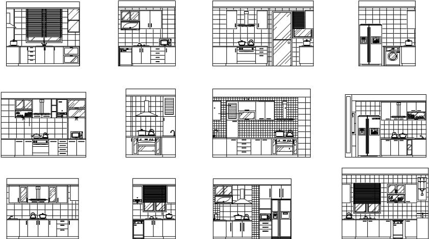 厨房家具设施布局CAD设计图块下载(dwg)