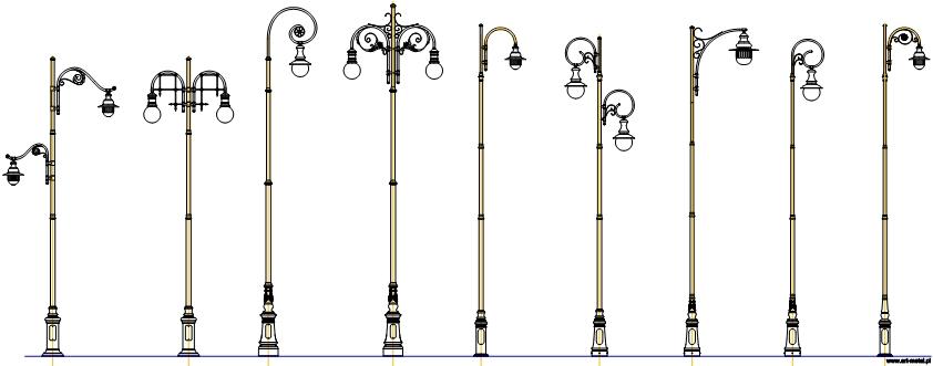 欧式古典路灯cad设计图块打包下载