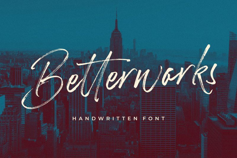 Betterworks像笔刷的炫酷ps书法手写英文字体下载