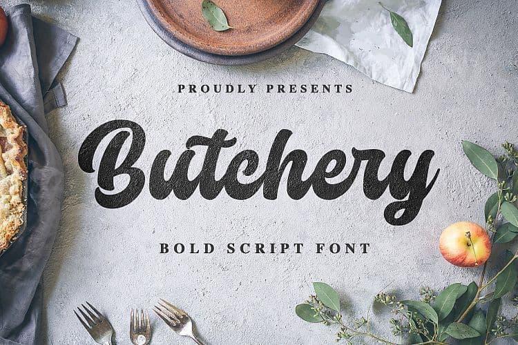 Butchery圆润的LOGO海报标题ps粗体英文字体下载