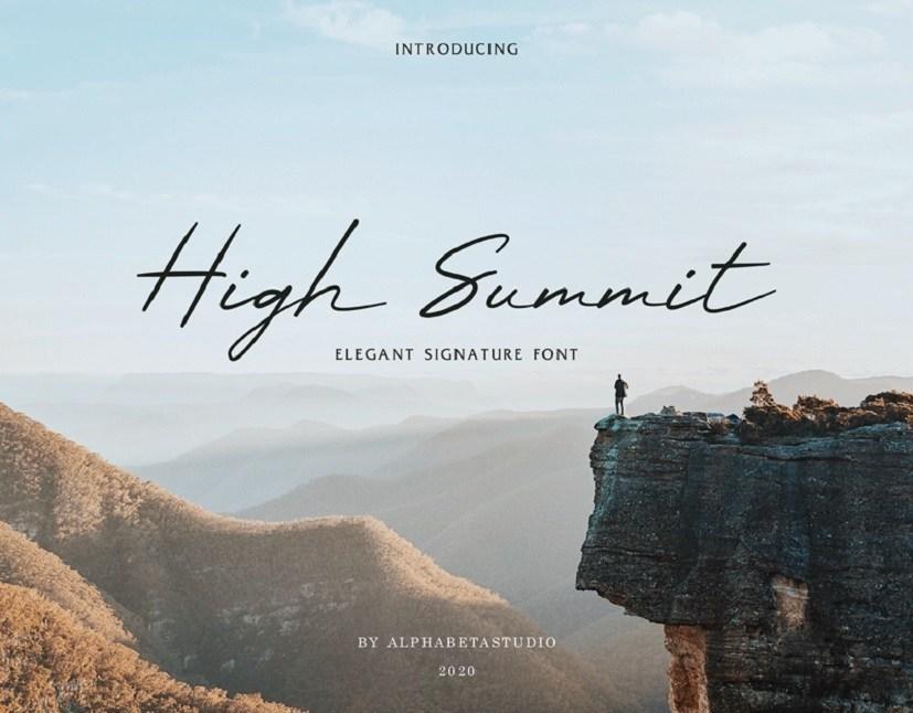 High summit书法潦草手写效果的画笔签名ps英文字体下载