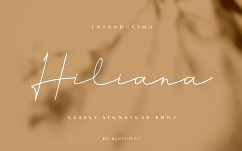Hiliana波浪一样的ins风艺术连笔手写签名英文字体下载