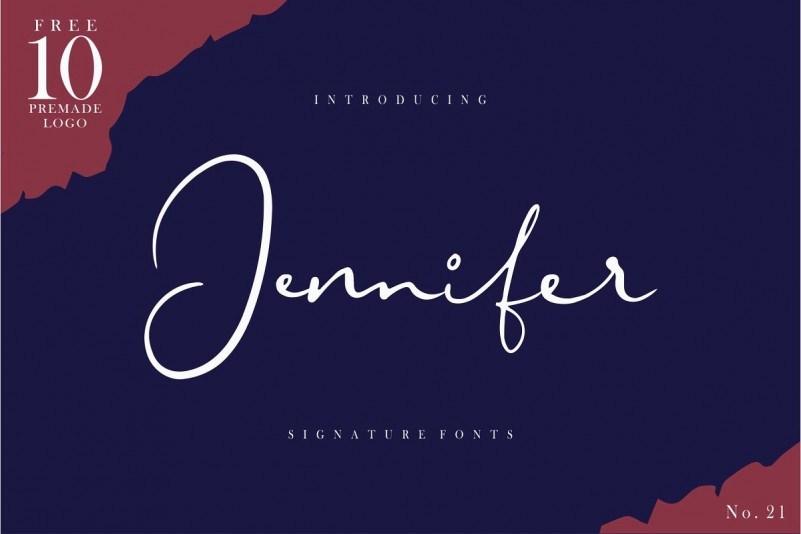 Jennifer适合做LOGO的画笔手写连体艺术英文字体下载