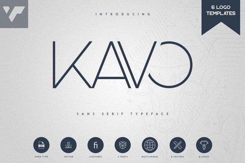 Kavo无衬线极简纤细的LOGO杂志标题英文字体下载