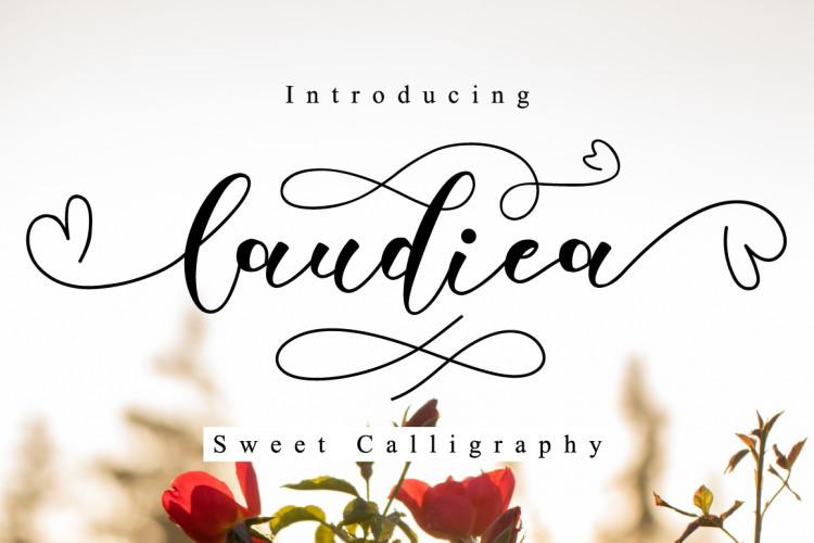 Laudiea纤细爱心线条的手写连笔英文字母艺术字体下载