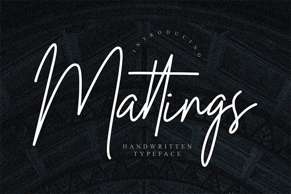 Mattings纤细文艺的连笔手写个性签名效果英文字体下载