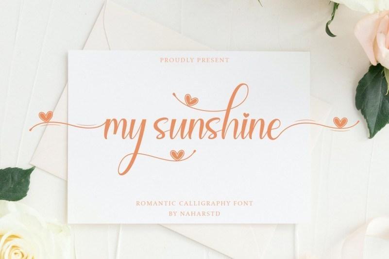 My Sunshine少女风贺卡信封常用的手写花体英文字体下载
