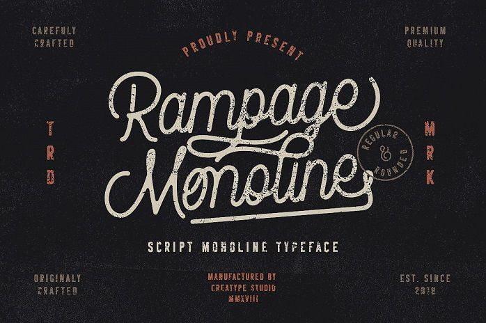 Rampage设计LOGO常用的ps复古花体手写英文字体下载