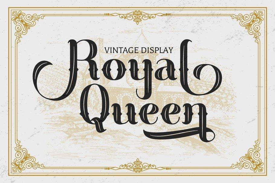 经典复古皇家风格英文花体字体下载 Royal Queen