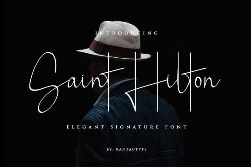 Saint Hilton高档大气钢笔手写书法艺术签名英文字体下载