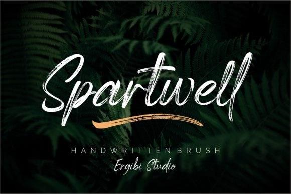 Spartwell粗糙纹理的毛笔刷效果的连笔ps英文字体下载