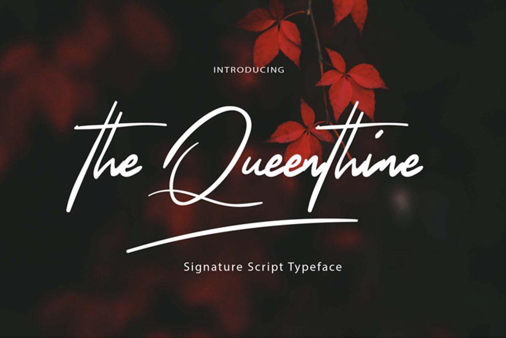 The Queenthine摄影师手写艺术签名效果设计英文字体下载