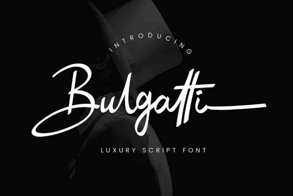 Bulgatti海报banner常用的手写画笔潦草ps英文字体下载