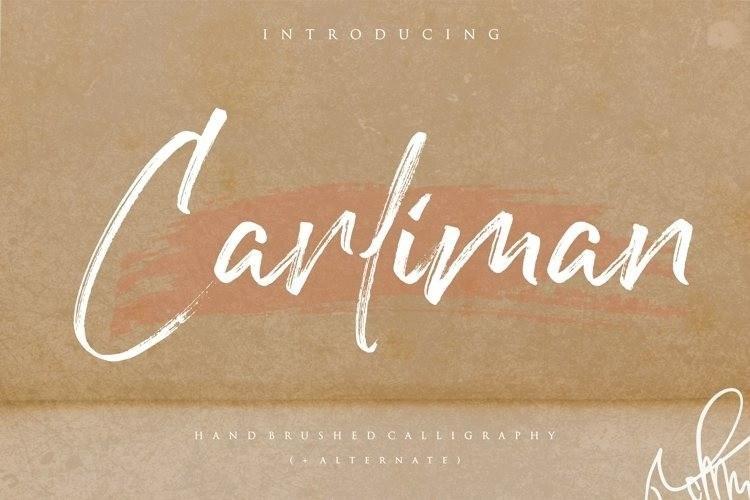 Carliman漂亮流畅的干笔刷书法手写英文字母字体下载