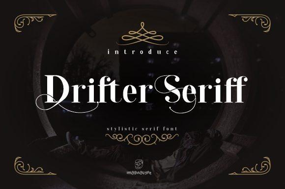 Drifter杂志海报常用的花式衬线设计英文字体下载