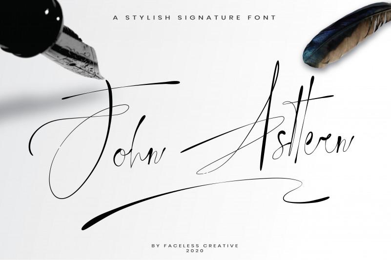 好看纤细的花体连笔英文手写钢笔签名字体 John Asttern