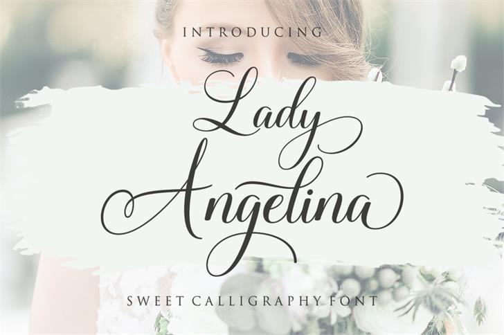 Lady Angelina甜美浪漫的女性化ps花体英文字体下载