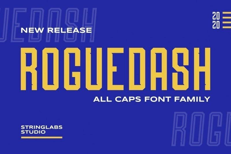 Roguedash无衬线高窄的LOGO设计英文字体下载