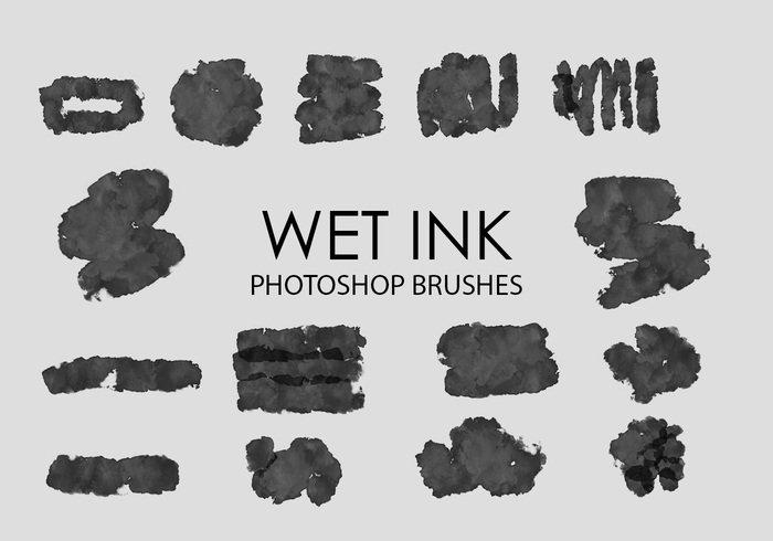15个PS笔刷打包下载 湿润画笔水墨毛笔水彩效果笔触