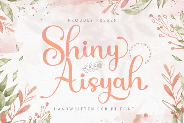 Shiny Aisyah婚纱照摄影常用的手写花体英文字体下载