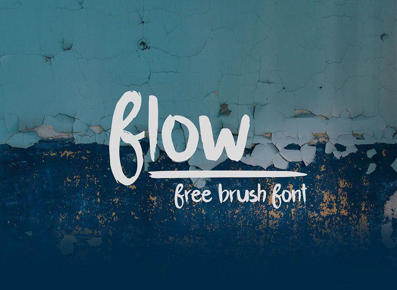 Flow大气的粗体笔刷涂鸦效果手写书法英文字体下载