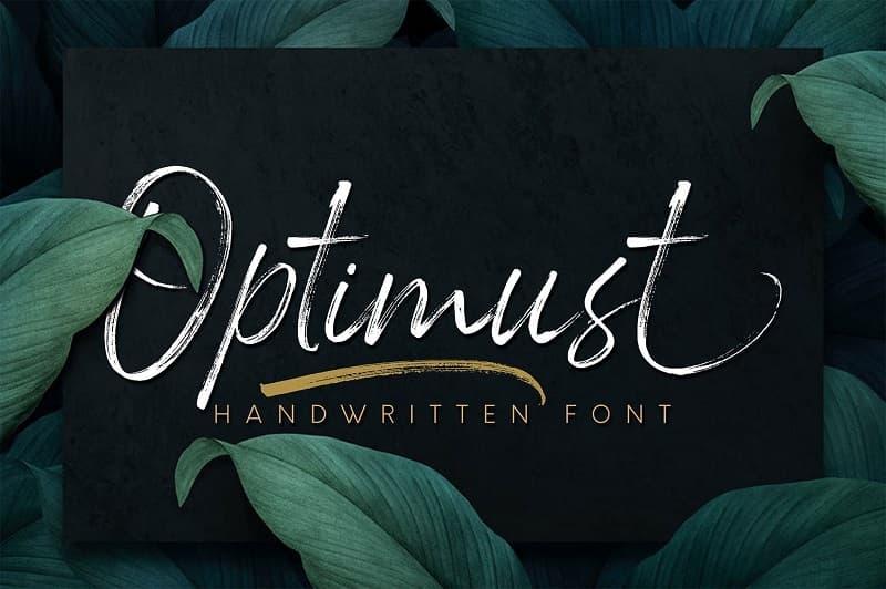 Optimust粗糙画笔效果ins风格手写英文字体下载